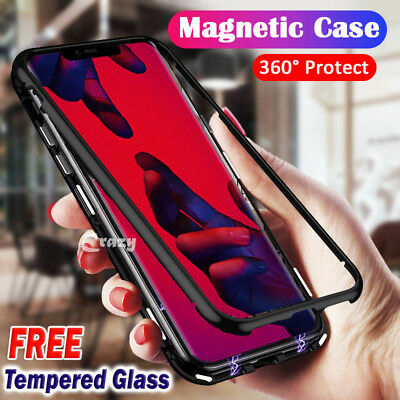 Magnetic Metal Frame Back Tempered Glass Case Cover Huawei P20 Lite Pro Nova 3e
