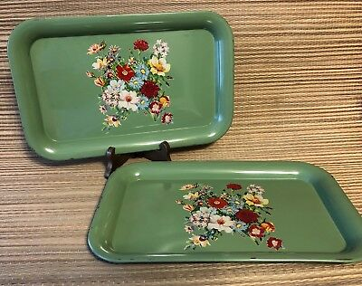 """Vintage Green Metal TV Trays with Spring Flowers 14""""x 9"""""""