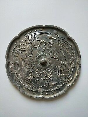 China Ancient Tang Dynasty Old Bronze Mirror Tiger Phonix Statue Flower Pattern