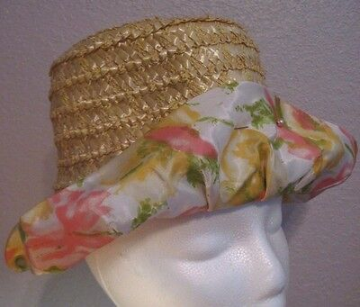 Vintage Yellow Faux Straw Ladies Hat Millinery w/Floral Fabric Brim *UNION MADE*