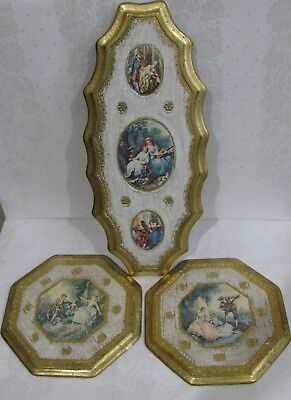 Lot Of 3 Gilt Italian Florentine Hollywood Regency Toleware Wall Plaques Set