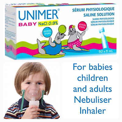 Unimer baby sterile saline solution pods 5x5ml NaCl Nasal inhalation nebuliser