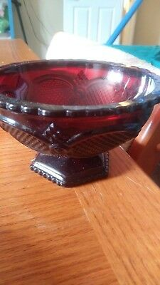 Avon 1876 Cape Cod Collection Ruby Red Glass Footed Bowl , Candy Dish