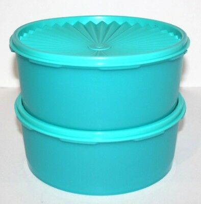 Tupperware 2 Servalier Canisters 8 Cups Stacking Teal Blue Treasures of the Sea