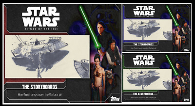 TOPPS STAR WARS CARD TRADER ROTJ STORYBOARDS Han Solo Hangover#3 Green Blue Red