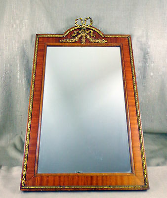 Antique Wall Mirror Ornate Ormolu French Bow Wooden Kingwood Veneer