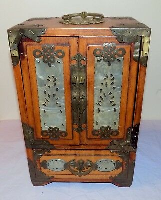 Antique Chinese Hand Carved Jade Inlaid Wood 4 Drawer Jewellery Armoire Cabinet