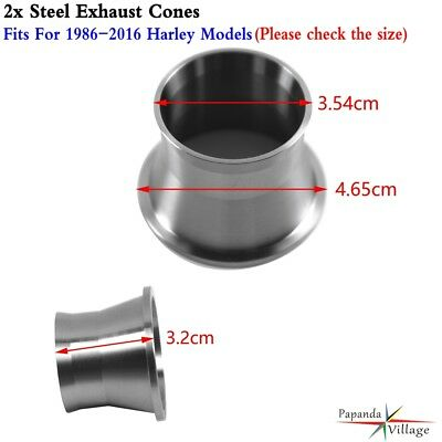 Pair Exhaust Torque Cones Drag Pipe Power Cones Anti-Reversion For Harley Models