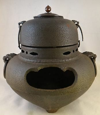 "Large 19th c. Japanese Iron Tea Ceremony Furogama Chanoyu Pot Kettle, 13"" x 12"""