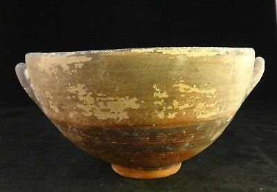 Ancient Cypriot Pottery Bowl w/handles & red slip w/ring bands.c 800-600 B.C.E