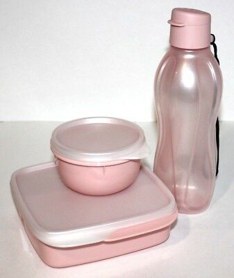 Tupperware Lunch Set Eco Bottle Lil' Ideal Bowl Divided Bento Box Blushing Pink