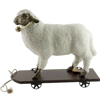 """Wooly Easter German Style Sheep Lamb Pull Toy Large Figure 15"""" Long"""