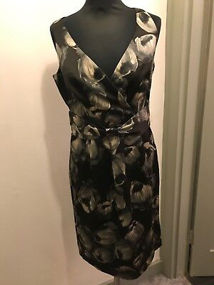 Hobbs Floral Print Bow Detail Evening Dress Size 10