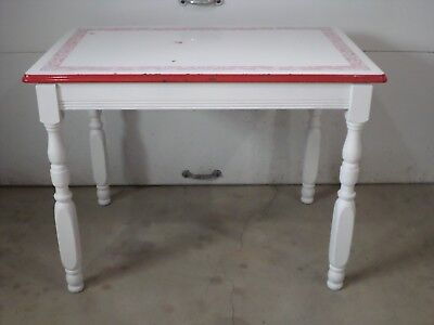 Vintage ENAMEL/PORCELAIN TABLE extra TOP red country dining kitchen metal farm