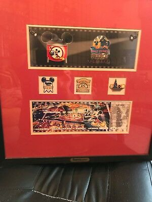 disneyland paris commemorative framed first day ticket and Pins
