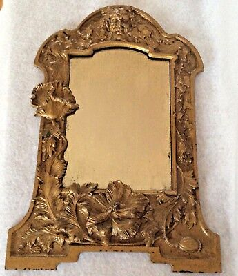 "Antique ornate gold cast iron mirror picture frame 16-5/8"" tall x 11-3/4"" wide"