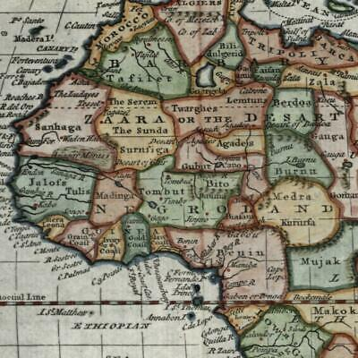 Africa continent Man Eaters Mts. of Moon 1788 Kitchin engraved old map
