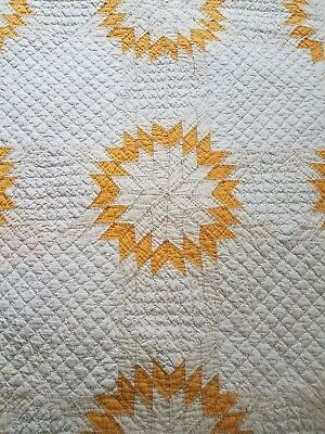Antique Quilt Cheddar Star Burst Sunburst Hand Made Sunny Yellow Cheery!
