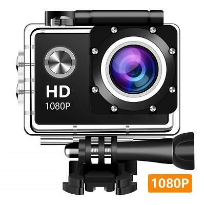"Action Camera, 12MP 1080P 2"" LCD Screen, Waterproof Sports Cam 140 Deg Wide C5"