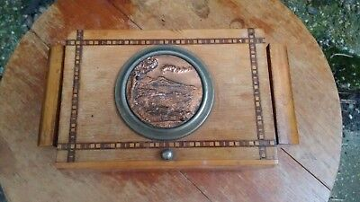 Antique Vintage Art Deco Musical Wooden Marquetry Cigarette Jewellery Box c1930