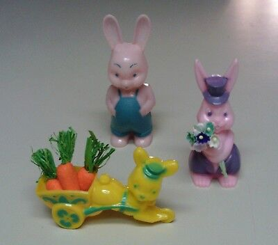 2 Vintage plastic EASTER BUNNY Candy Containers  and Knickerbocker Bunny