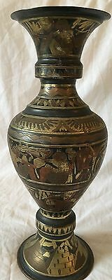 Antique Egyptian red bronze and copper vase showing Pharaoh pyramids & Nefertiti