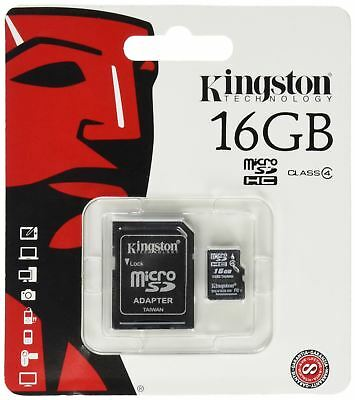 Kingston 16GB Micro SDHC TF Card Class 4 Mobile Phone Tablet With Adapter