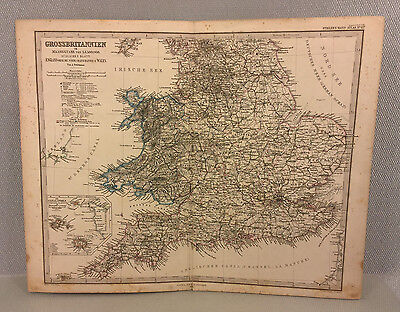 Ant Great Britain Stielers 19th Century Copper Map Engraving (In German) 1869
