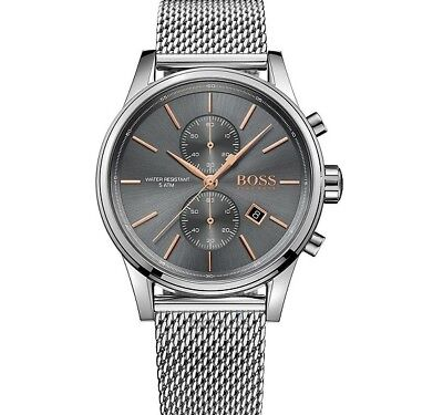 Brand New Hugo Boss Grey Jet Mesh Stainless Steel Chrono Men Watch Hb1513440
