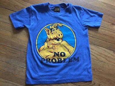 Vintage Alf T Shirt 1980s Thin Soft Blue No Problem Tee T-shirt Kids Youth S/M