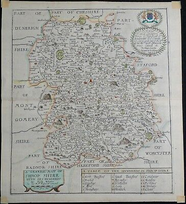 Antique Map of Shropshire, England 1673, Engraving with Hand Coloring