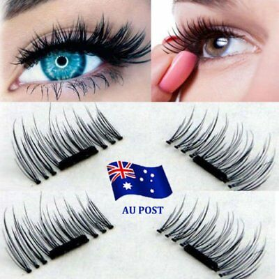 2 Pairs Magnetic Eyelashes 3D Handmade Mink Reusable False Magnet Eye Lashes  .Q