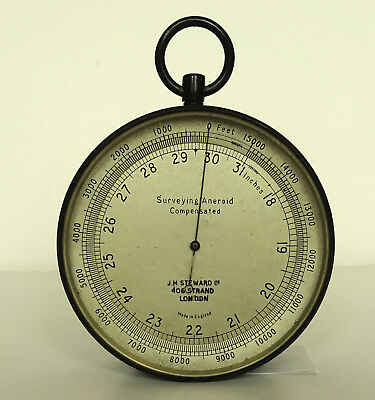 ANTIQUE SURVEYING ANEROID [COMPENSATED] BAROMETER BY J H STEWARD Ltd of LONDON