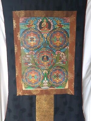 Antique  Tibetan Thangka Buddist Painting blessed huge rare 5 Mandalas