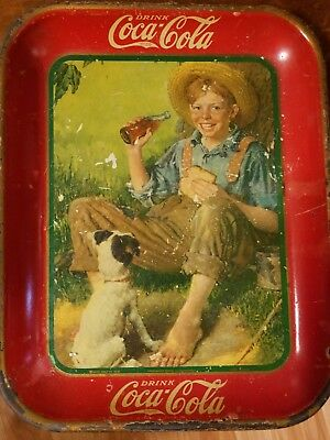 Vintage 1931 Coca-Cola Coke Norman Rockwell Boy with Dog Serving Tray