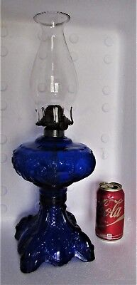 No 2 Princess Feather Pattern Cobalt Glass Oil Lamp with Chimney