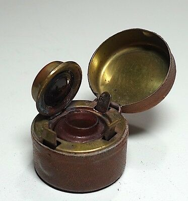 Antique Victorian Brown Leather Over Brass Travel Inkwell - All Original