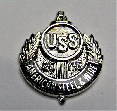 Old UNITED STATES STEEL USS AMERICAN STEEL & WIRE 20 YEAR SERVICE Sterling PIN