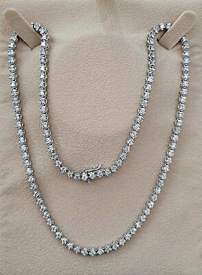 8ct REAL 100 % diamond Eternity Tennis necklace 14k white gold certified 20 inch