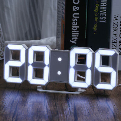 LED Digital Large 3D Display Table Wall Alarm Clock Snooze Timer USB Charge Home