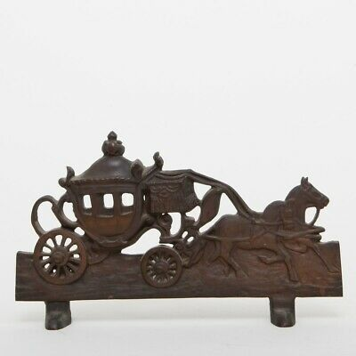 """Antique Cast Bronze Carriage Door Stopper Horse Drawn Buggy 13"""" Bookend Mantle"""