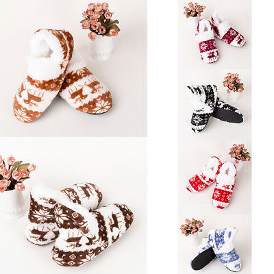 US Women Christmas Indoor Shoes Santa Claus Cozy Soft Socks Winter Warm Slippers