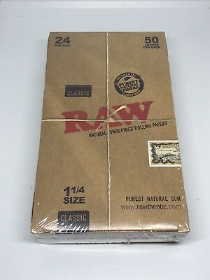 RAW Unrefined Classic Hemp(24 Packs/50 per Pack)Box Rolling Papers 1 1/4*1.25