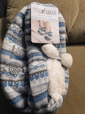 Muk Luks Women's Striped Ballerina Slipper Socks w/Pom Poms Size L/XL (8-10)