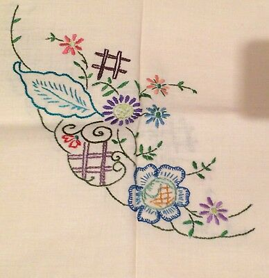 Beautiful Vintage Square Needlepoint Embroidered Floral Tablecloth~Satin Stitch