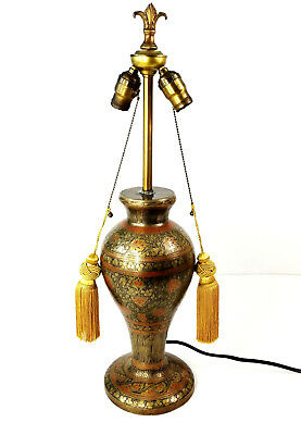 Vintage Champleve Cloisonne Bronze & Red Enamel Peacock Table Lamp