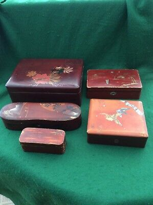 5 antique Oriental lacquered boxes, one with abalone inlay