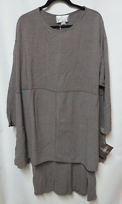 NWT Cachaca Brown Crinkled Rayon Lagenlook Tunic Skirt Set L