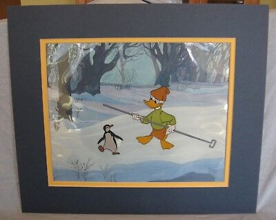 Vintage Donald Duck Character Production Cel Matted with Disneyland Sticker