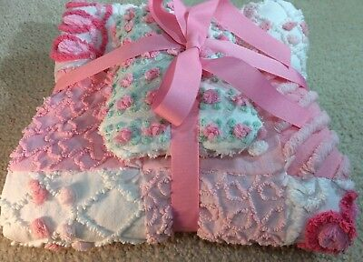 Pink Rosebuds Baby or Doll Travel Blanket from Chenille Bedspread 25x25 & Pillow